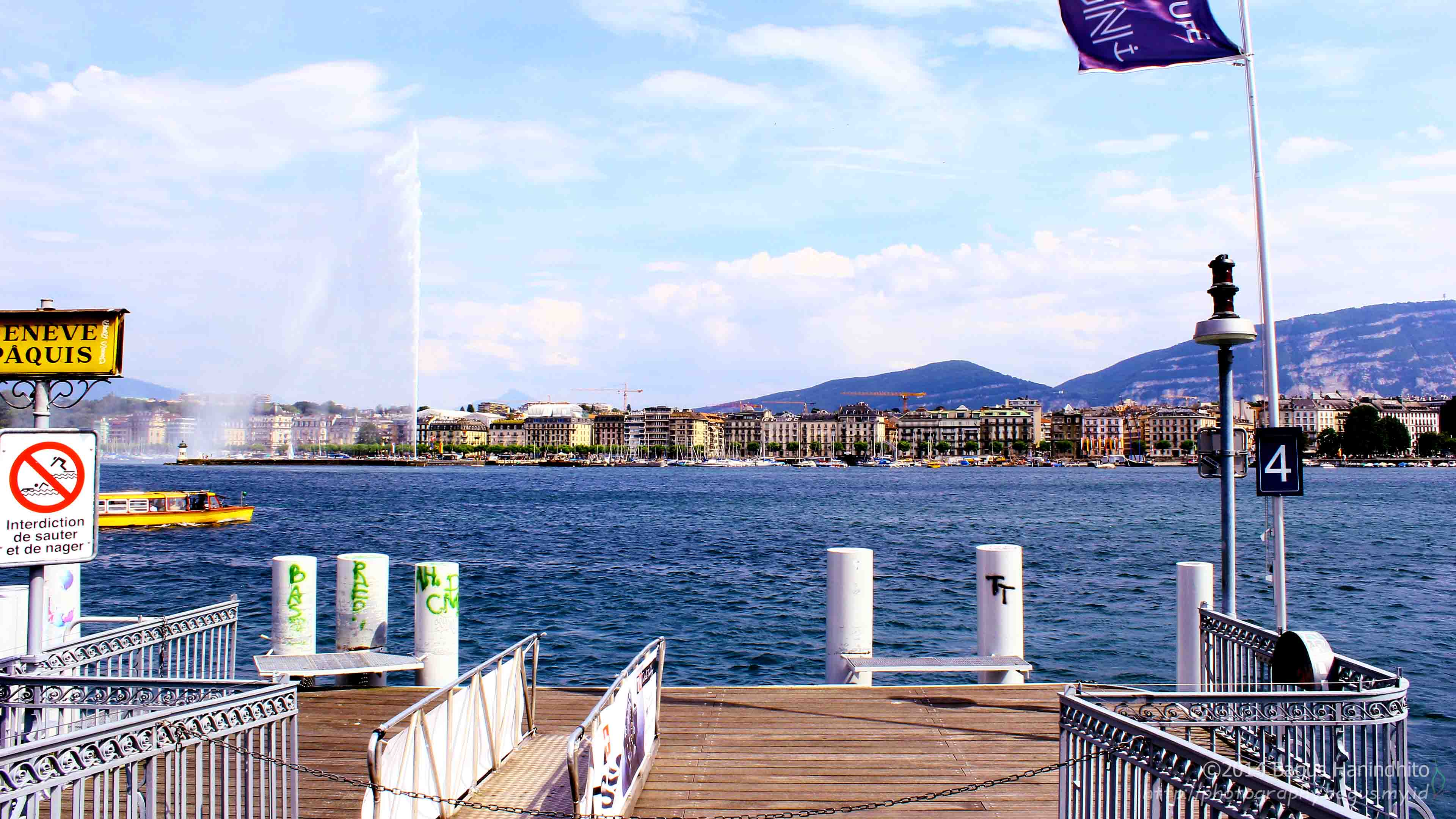 Lake Geneva with its Water Jet (Jet d'Eau). You can relax yourself in the middle of the lake by riding a ship.