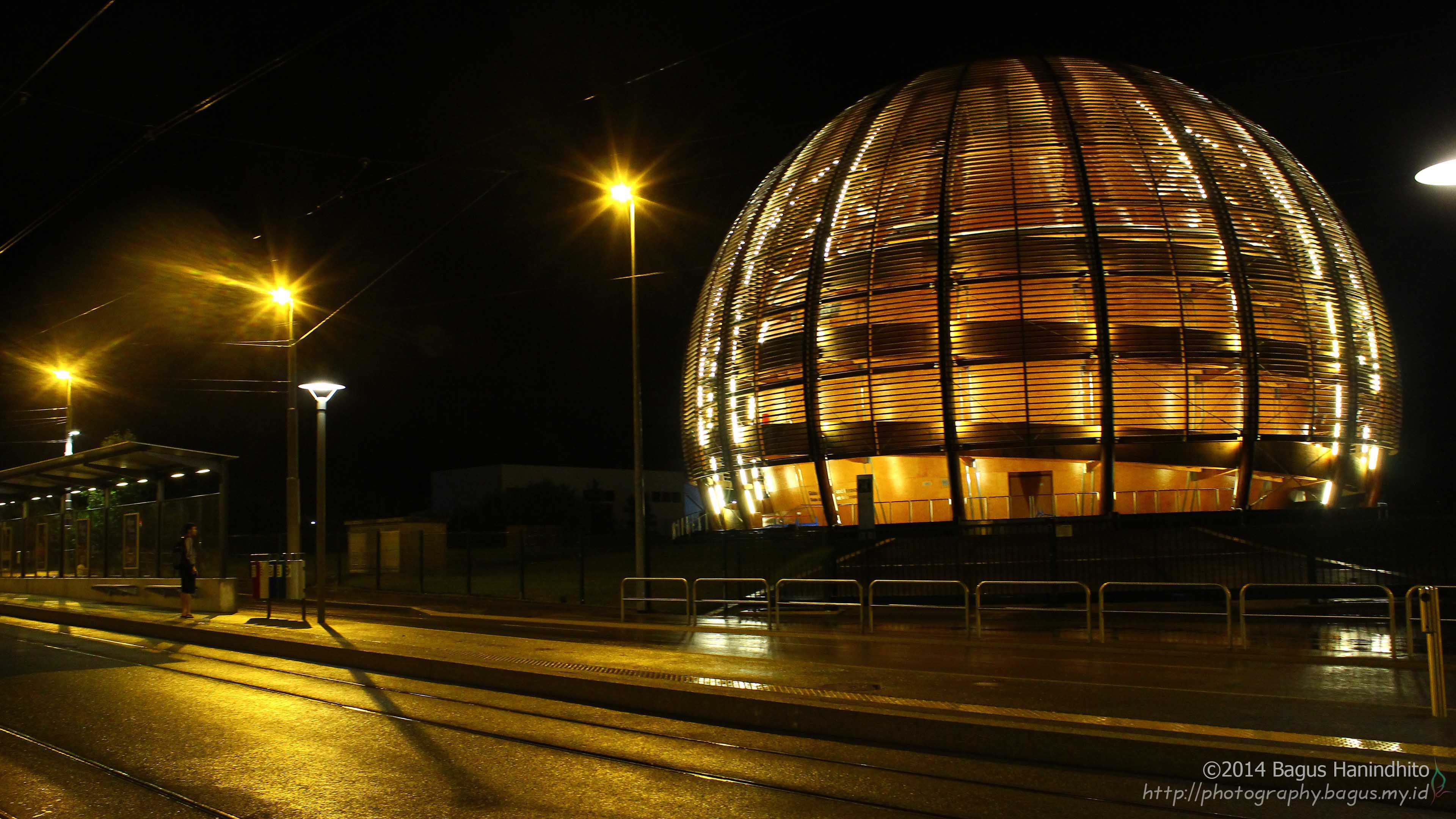 The famous Globe of Science and Innovation during night. It is a landmark (and also museum) in front of CERN Meyrin Site that will welcome everyone who pays a visit to CERN.