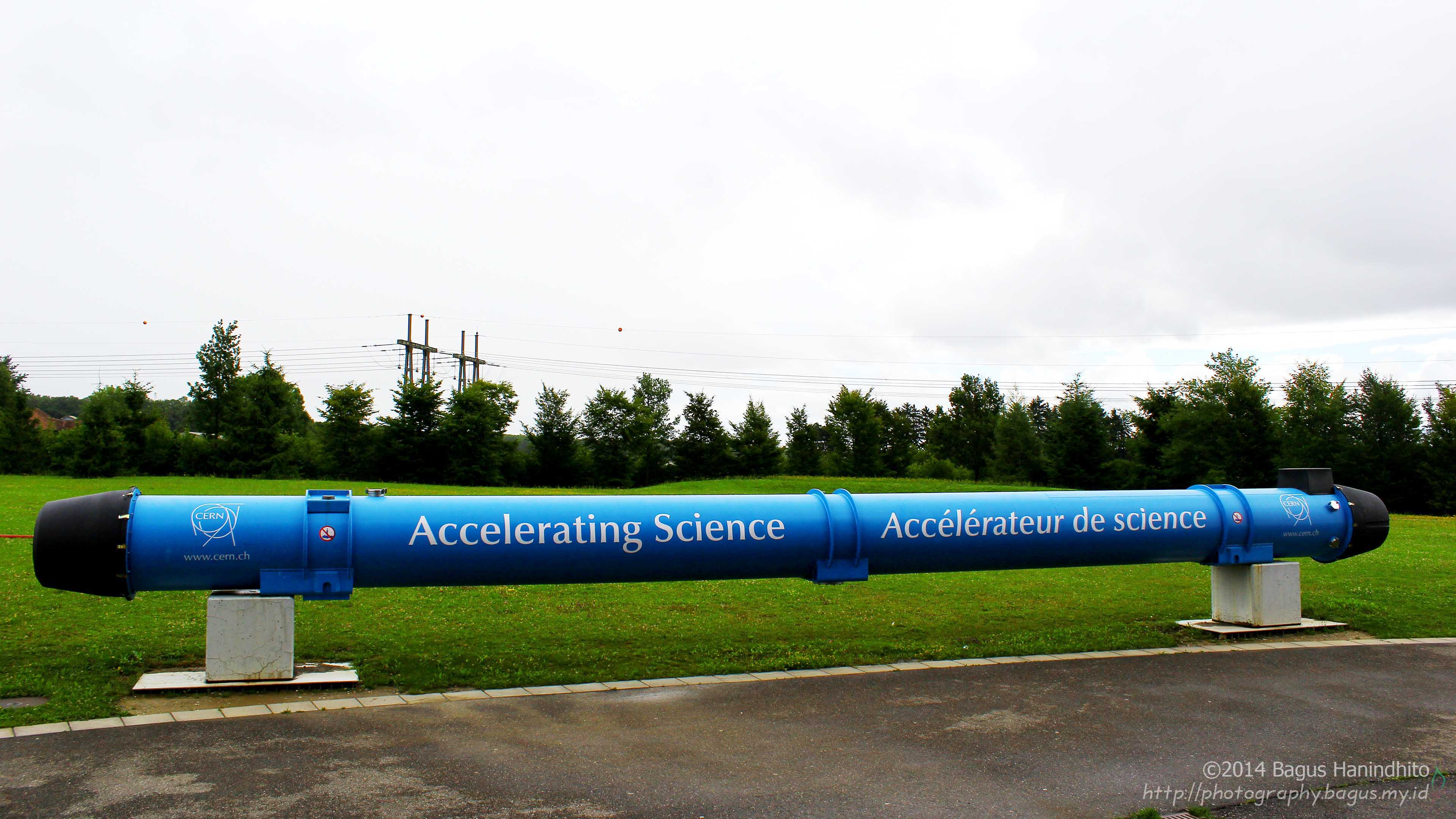 CERN LHC's Magnet which is displayed nearby the Globe of Science and Innovation. Some people have told me that it is the real magnet they use in LHC. Uhm, maybe they can use it as a spare.