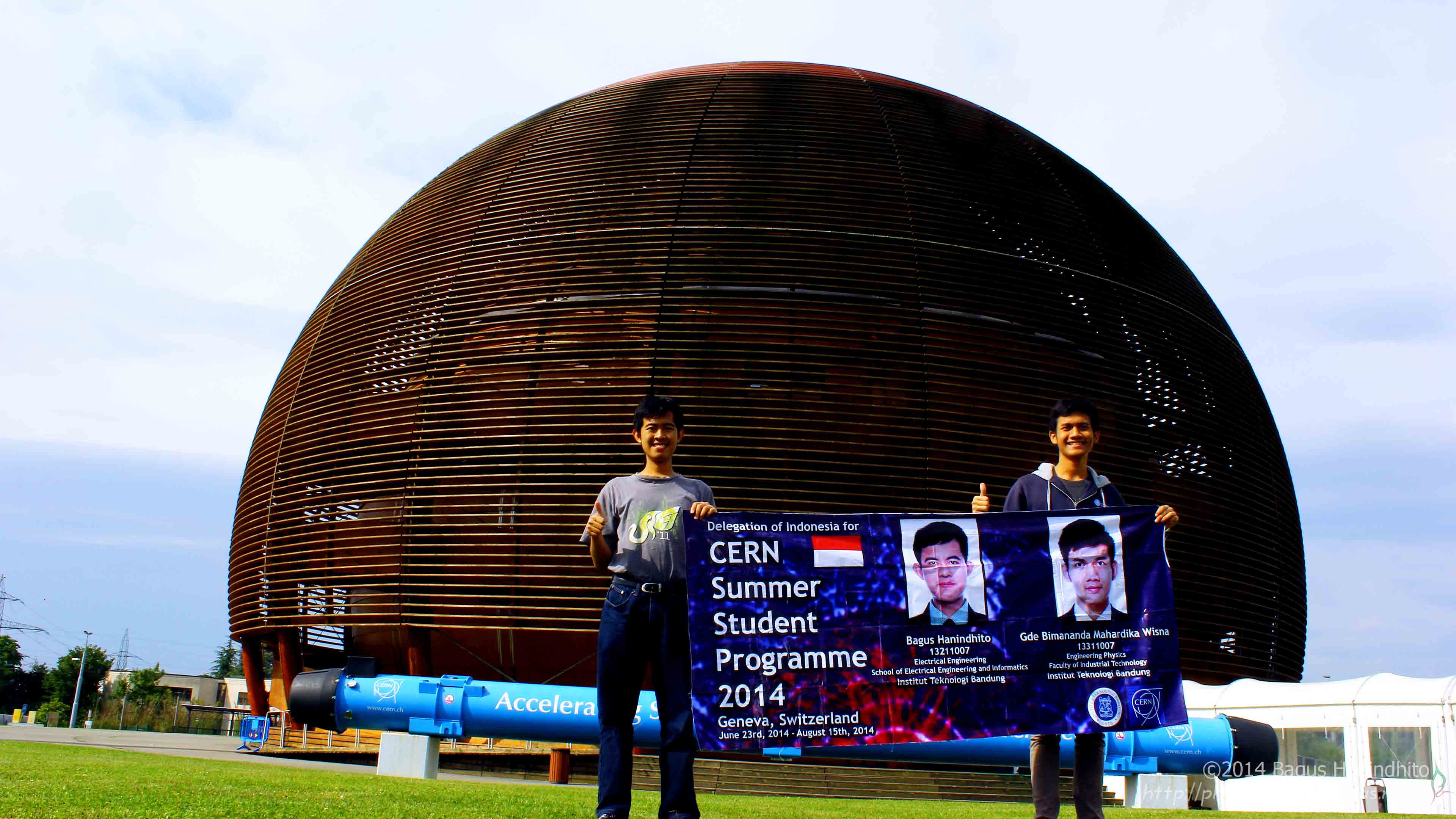 Indonesia Delegation for CERN Summer Student 2014, photographed in front of the Globe of Science and Innovation.