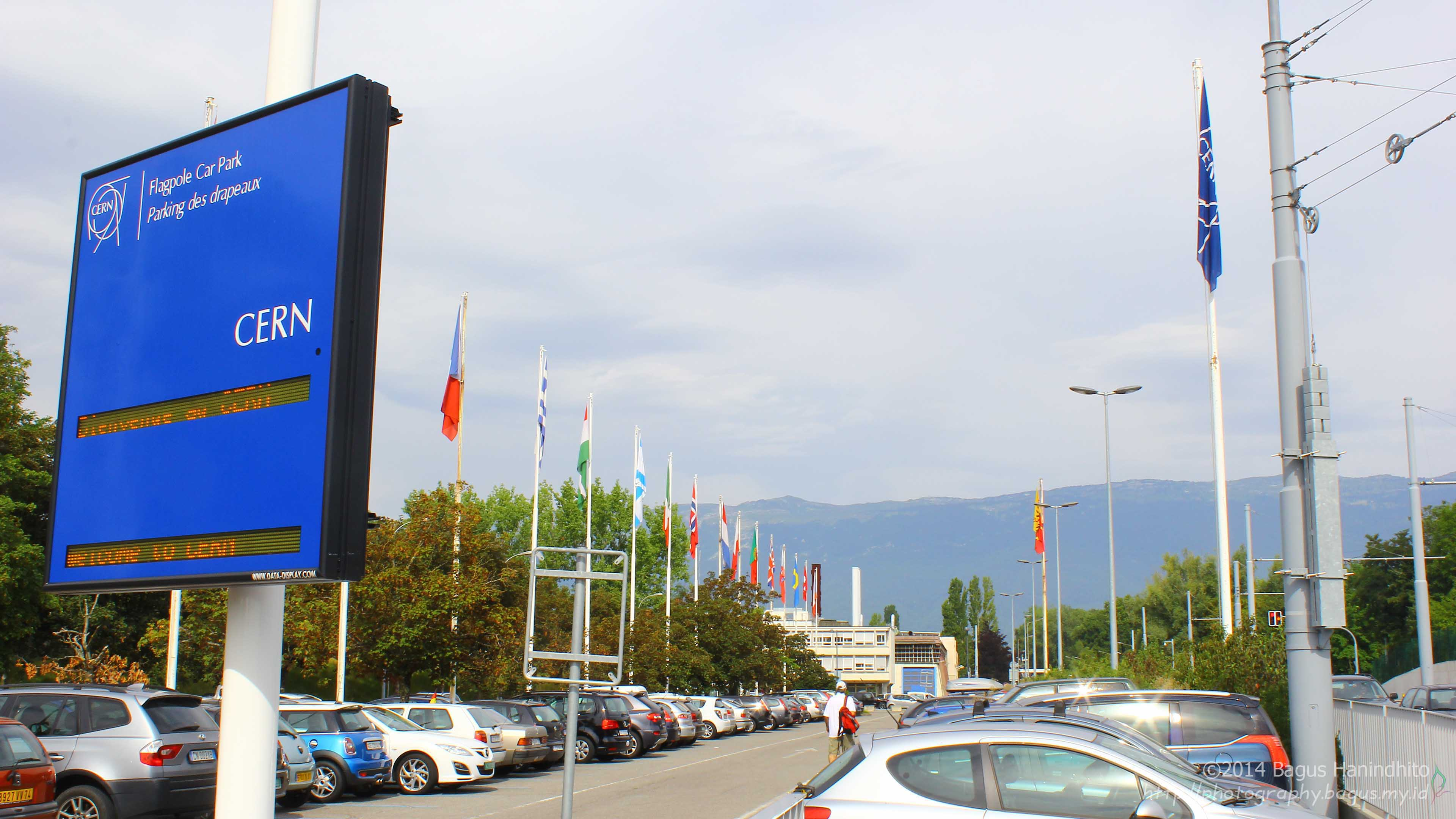 CERN Meyrin Visitor Parking Lot. It is located beside the Rue de Meyrin. The reception building is nearby this parking lot and you can also visit the Globe of Science and Innovation by crossing the street. There are also a bus stop (Bus Y) and a tram stop (Tram 18).