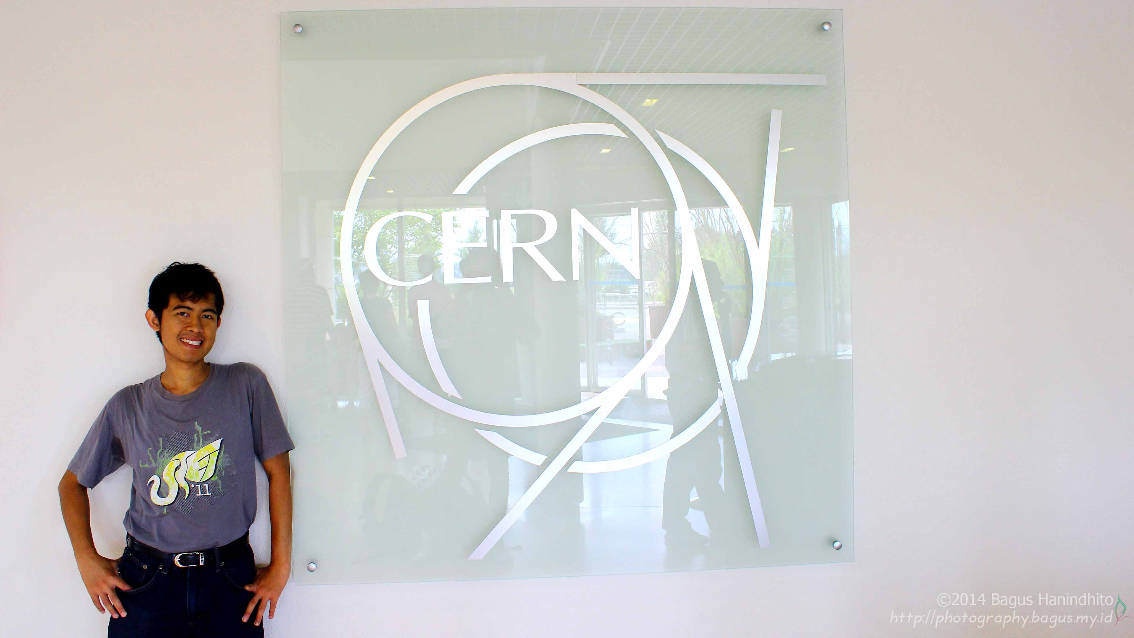 Self portrait with CERN Logo located at reception building.