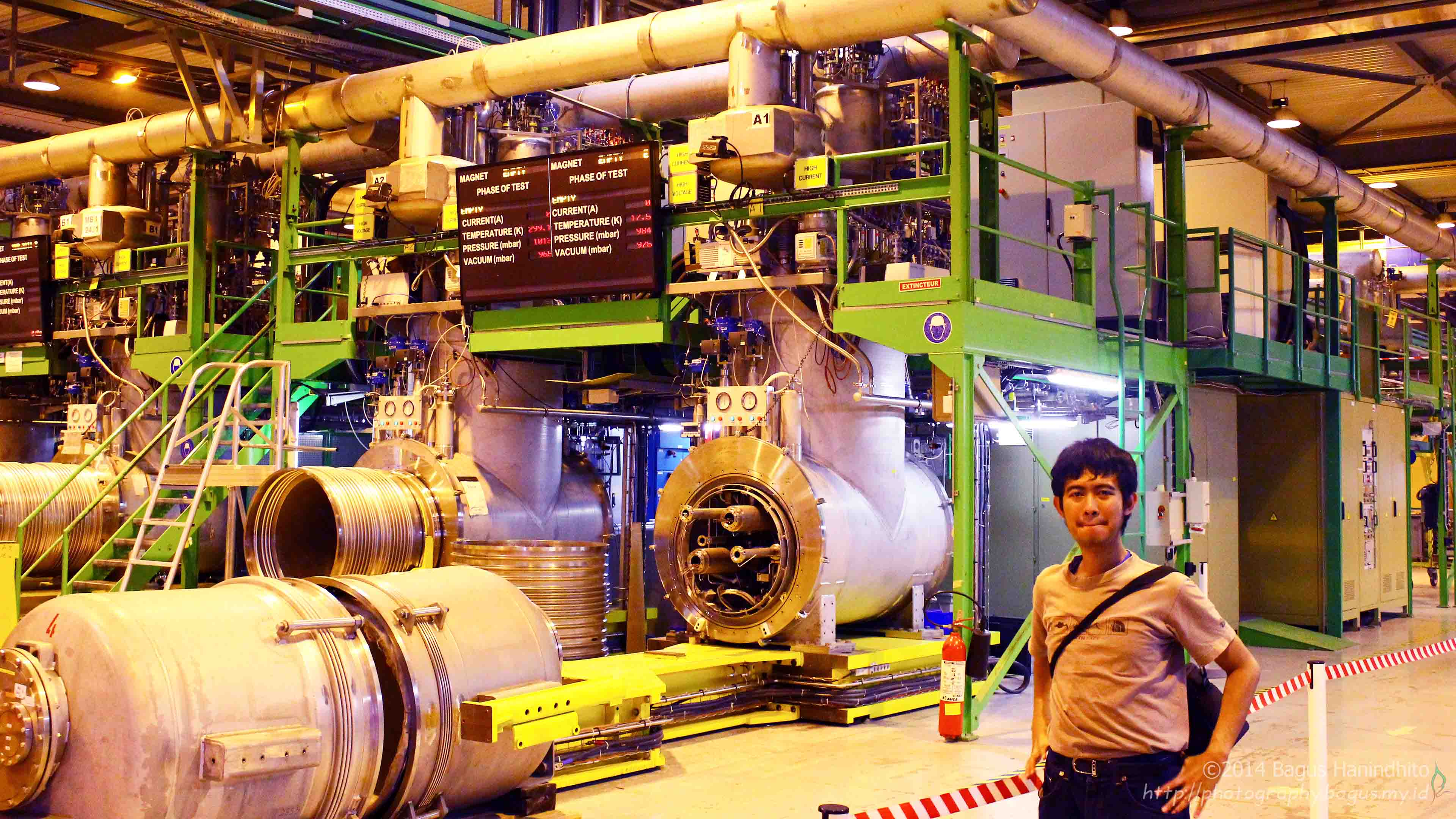 I am in front of superconducting magnet test bench at SM18.