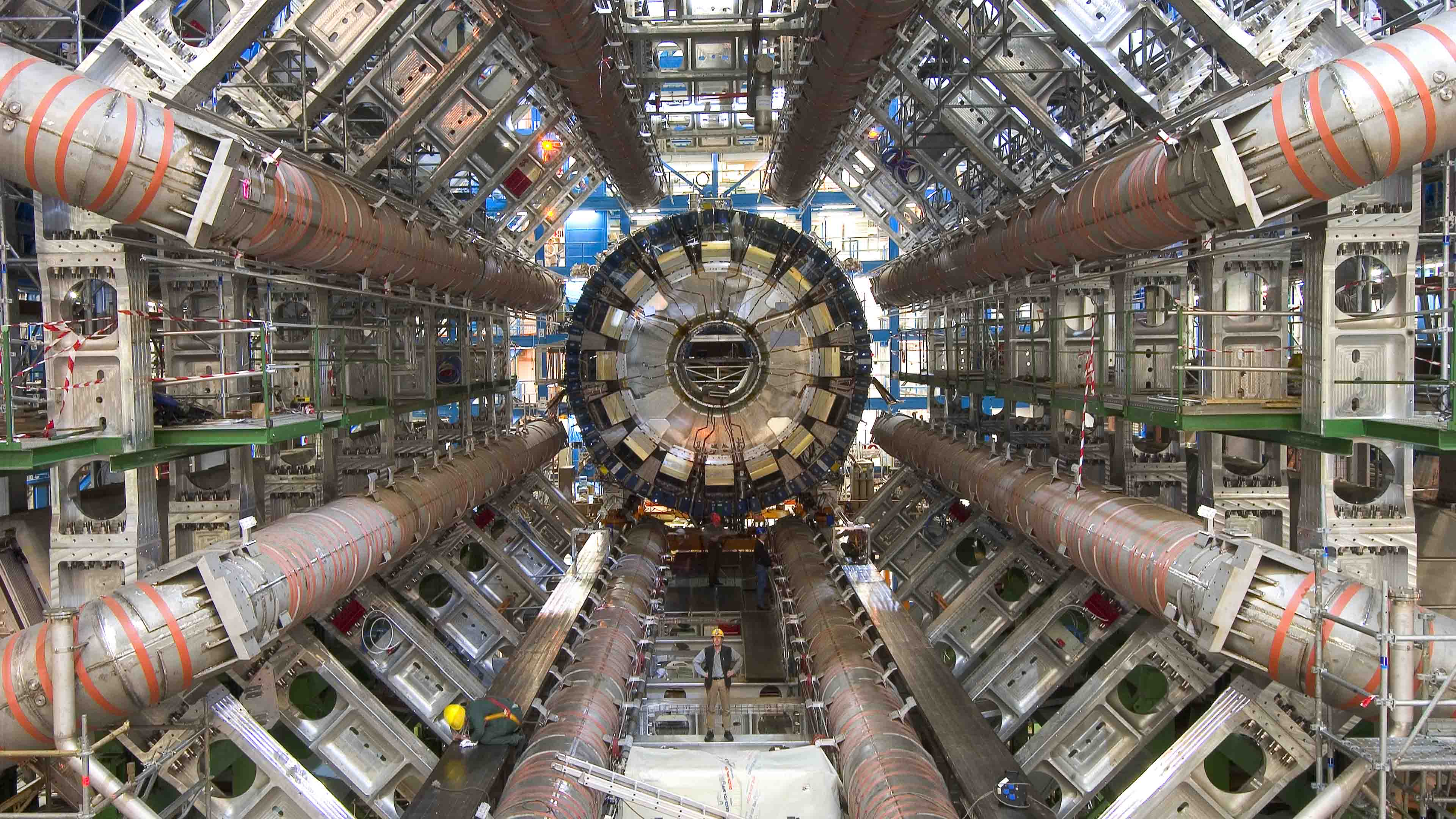 The Cross Section of ATLAS Particle Detector at CERN. The image was taken during the construction of the ATLAS.