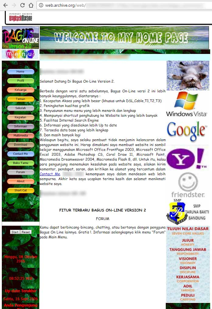The 2nd version of my personal website. The website was archived in archive.org which captured the website on March 2008, one year before Yahoo! shutdown its Geocities service.