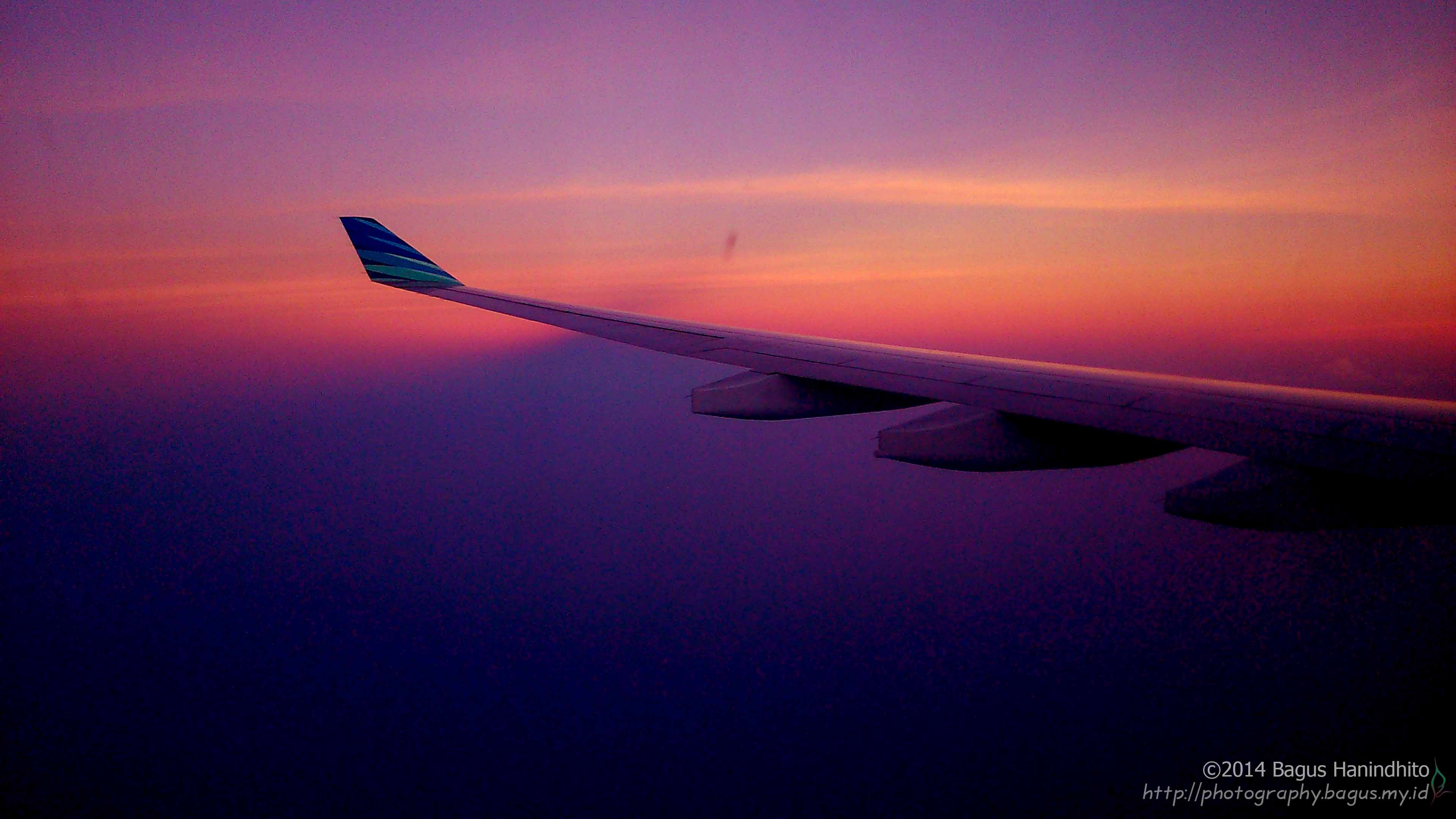 Twilight at sky of Jakarta as my plane approached CGK.