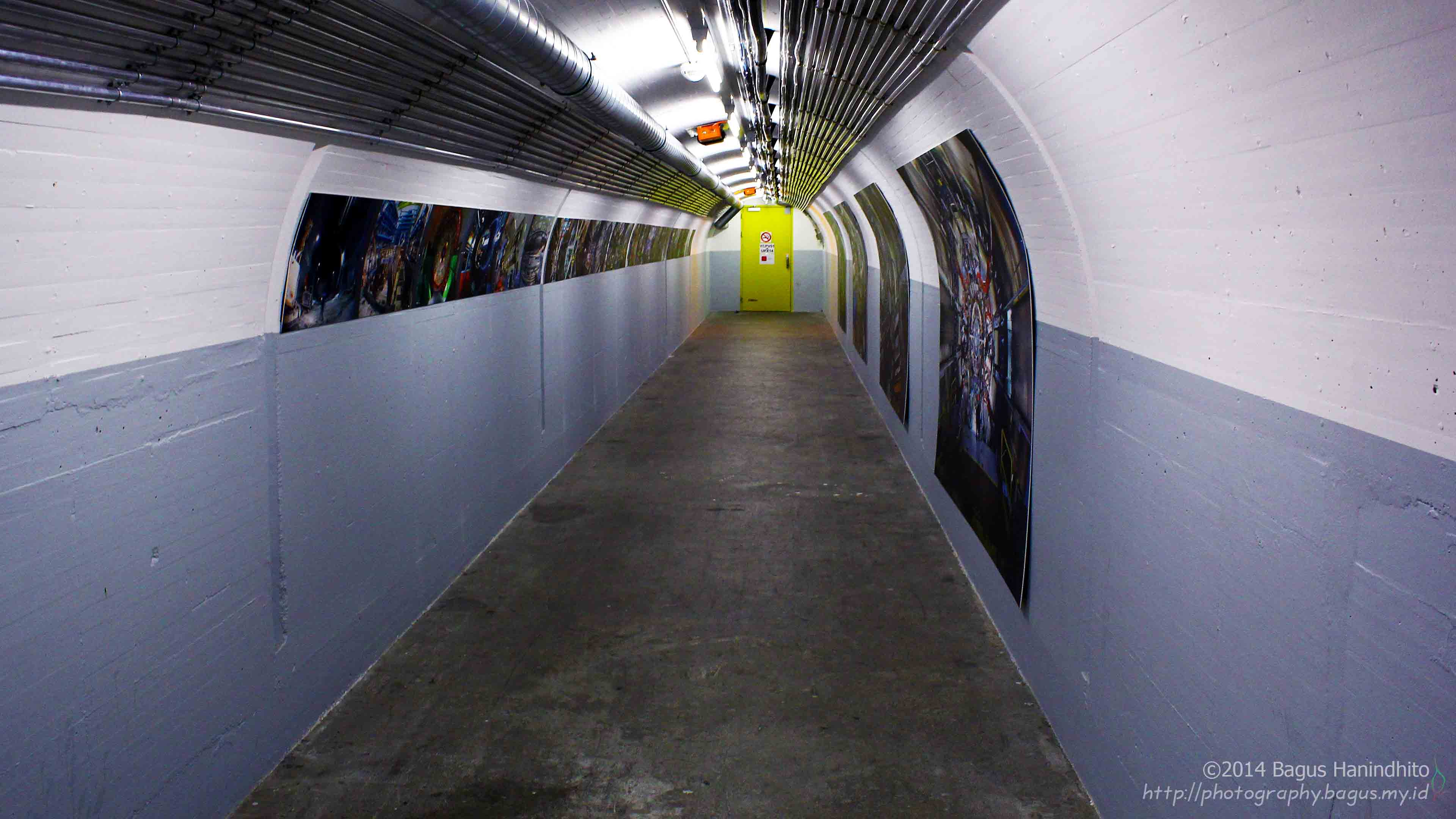 A tunnel to a particle detector and its Large Hadron Collider (LHC) at CERN.