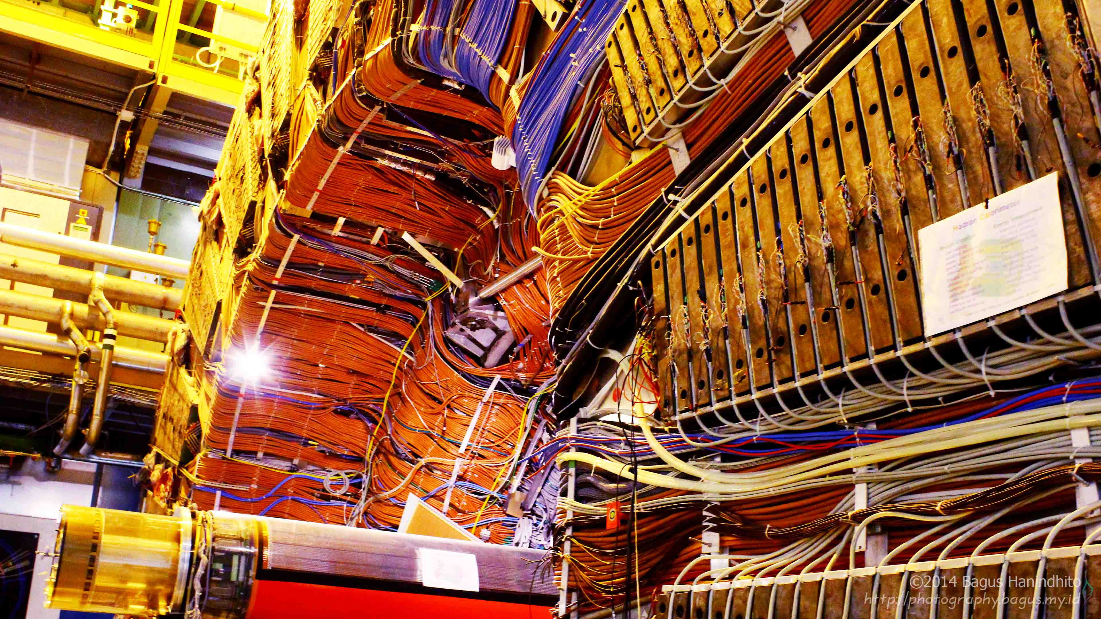 The decomissioned DELPHI particle detector from LEP experiment is now shown for exhibition in the same cavern as LHCb.