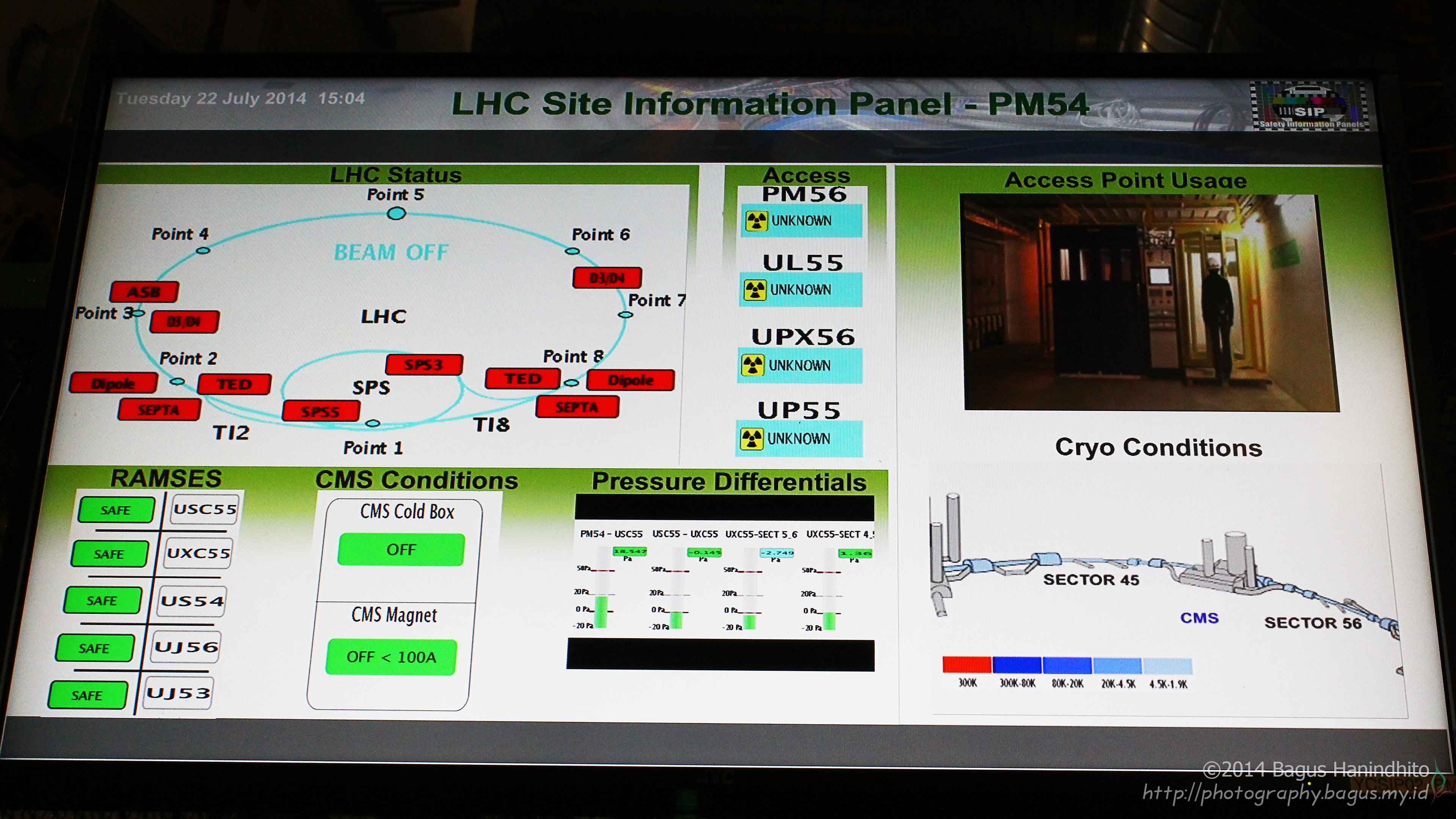 Large monitor shows CERN Information Panel for Point 5 - CMS