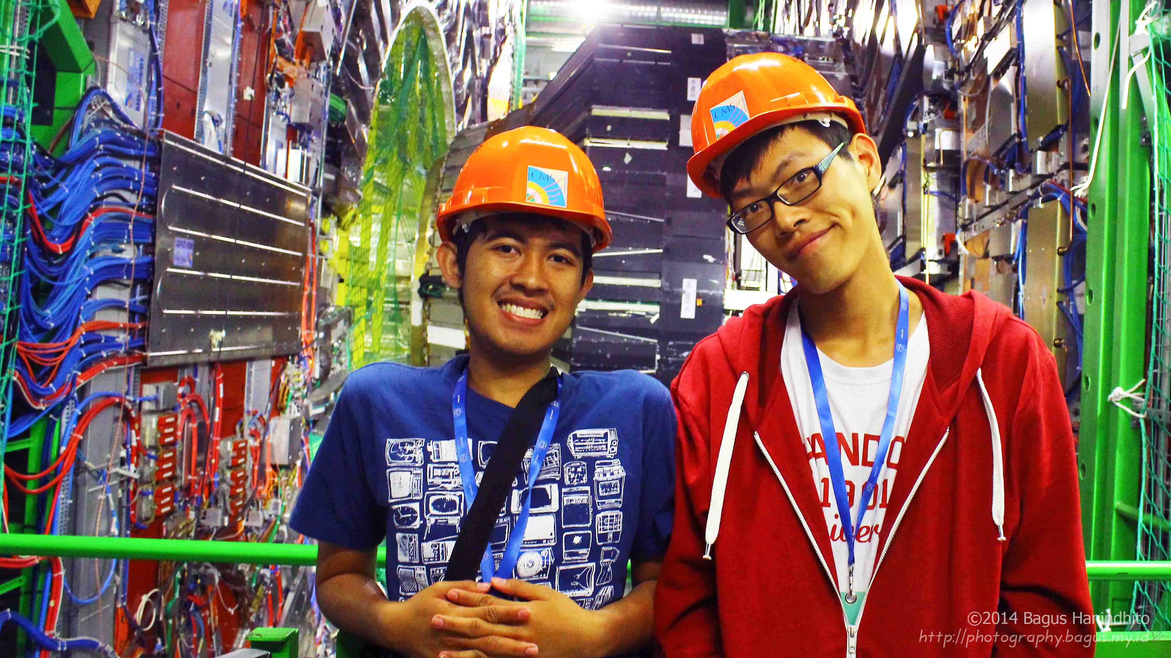 I and my friend were photographed in front of the inner core of CMS detector.