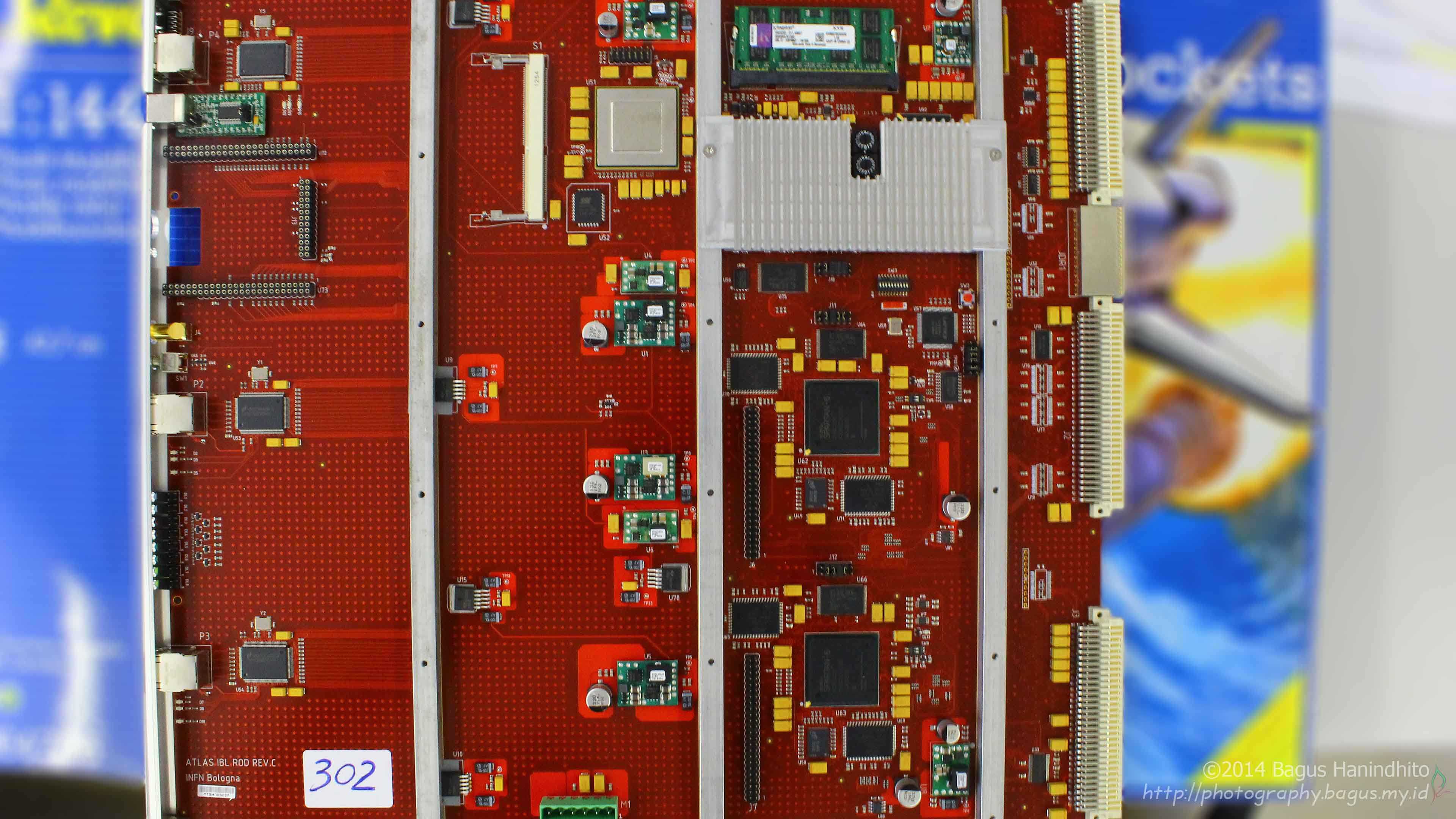 The Read-Out-Driver Module layout from top. There are three Spartan6 FPGAs, a Virtex5 FPGA, and a Texas Instruments DSP.