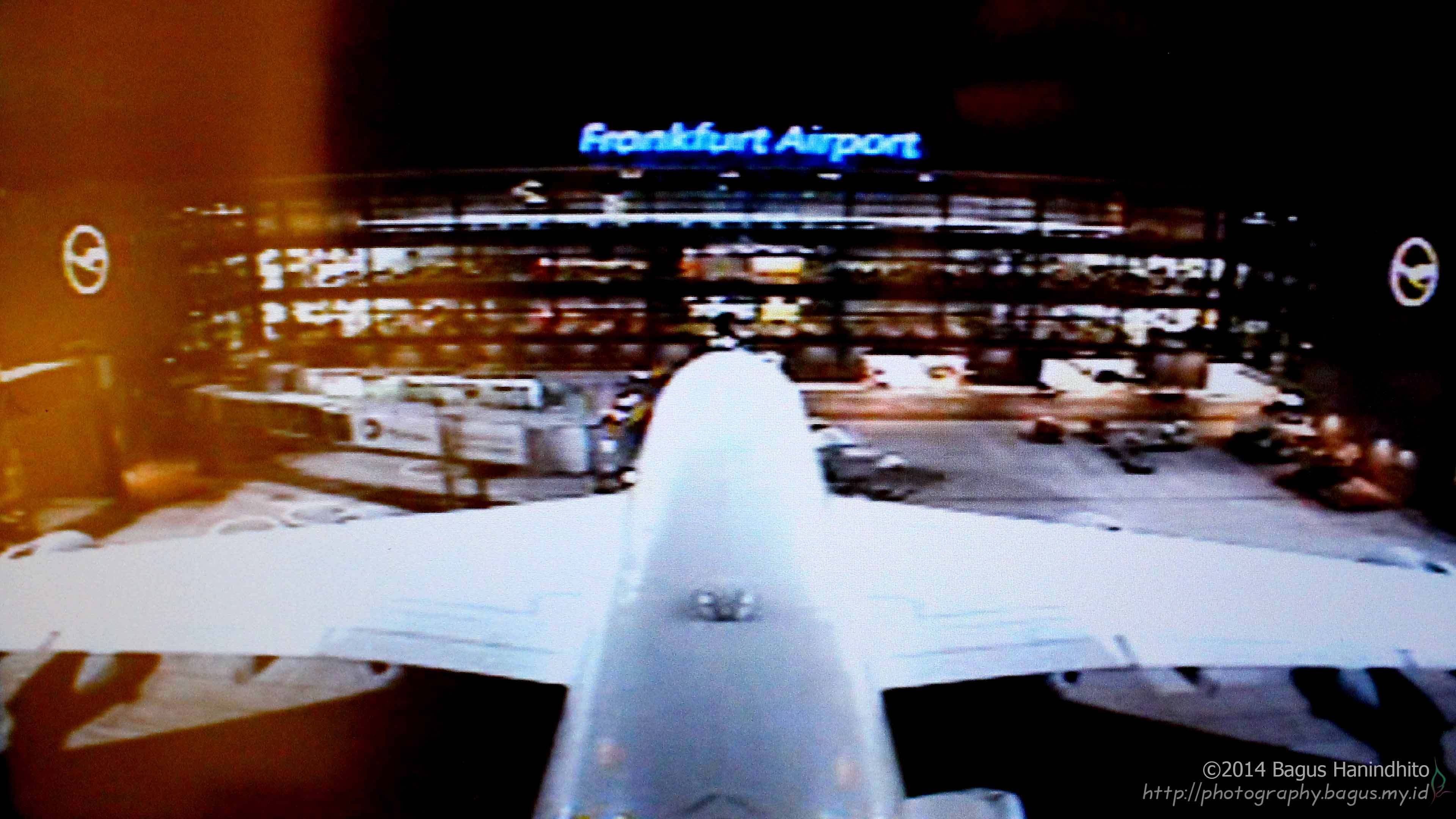 FRA airport terminal view from the tail camera of an A380-800.