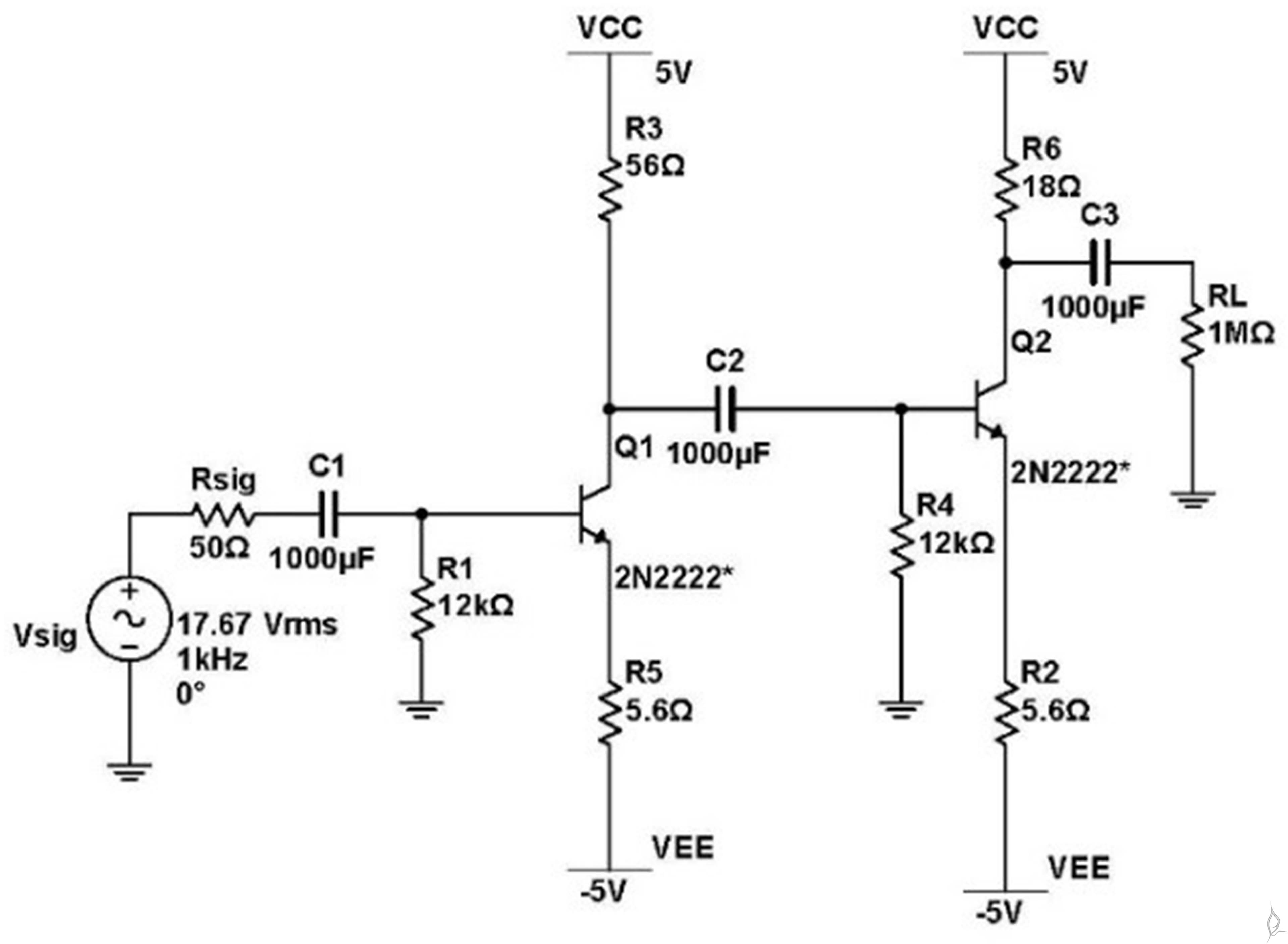 implementation of two-stage amplifier using 2n2222 bjt