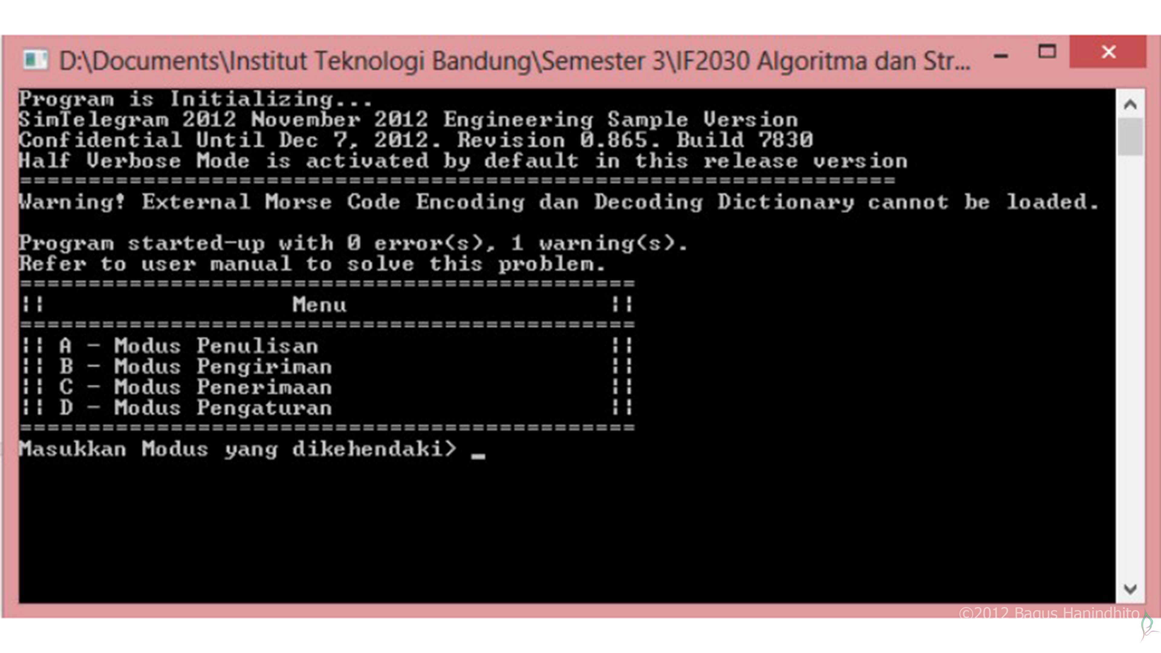 Final Implementation of Telegraph Simulation using C running on Windows terminal as its interface.
